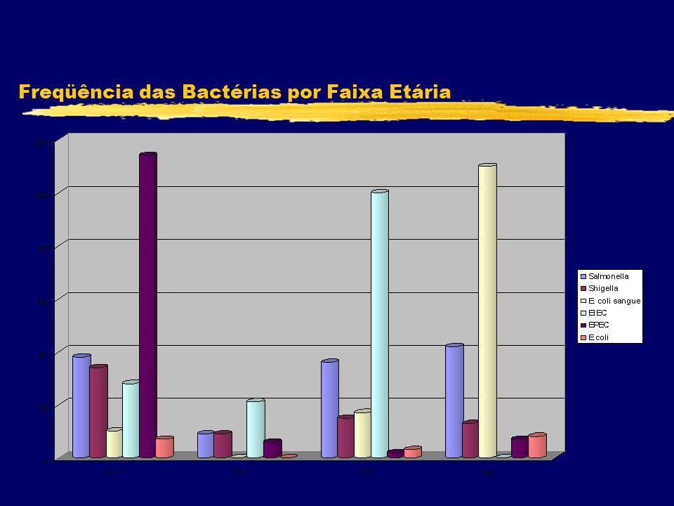Freqüência das Bactérias por Faixa Etária