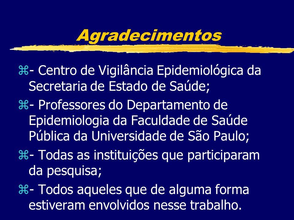 Agradecimentos- Centro de Vigilância Epidemiológica da Secretaria de Estado de Saúde;
