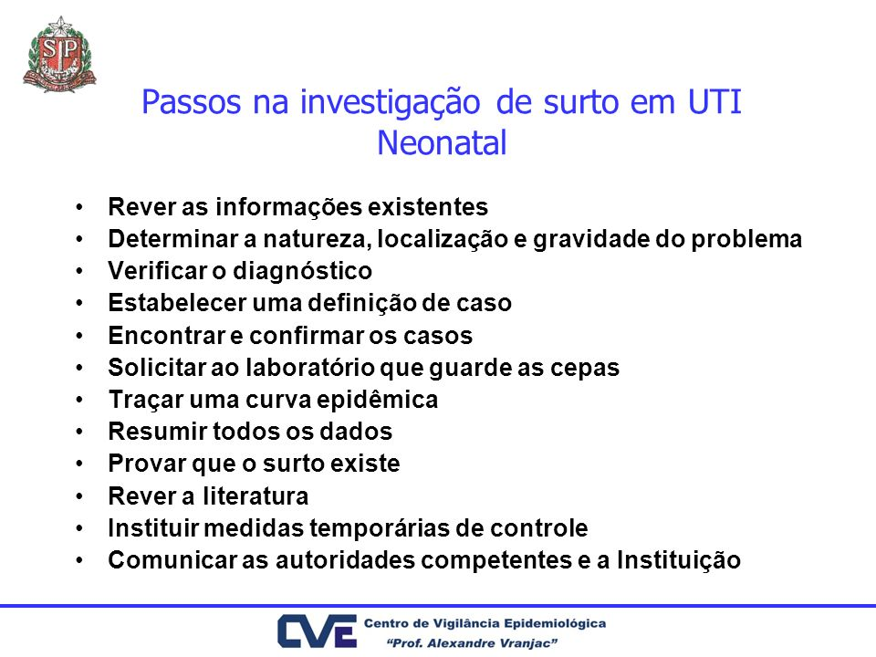 Passos na investigação de surto em UTI Neonatal