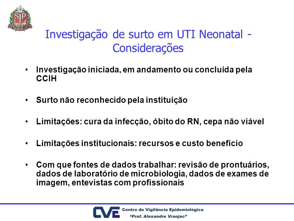 Investigação de surto em UTI Neonatal - Considerações