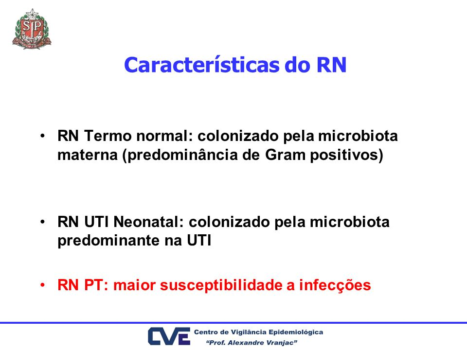 Características do RN RN Termo normal: colonizado pela microbiota materna (predominância de Gram positivos)