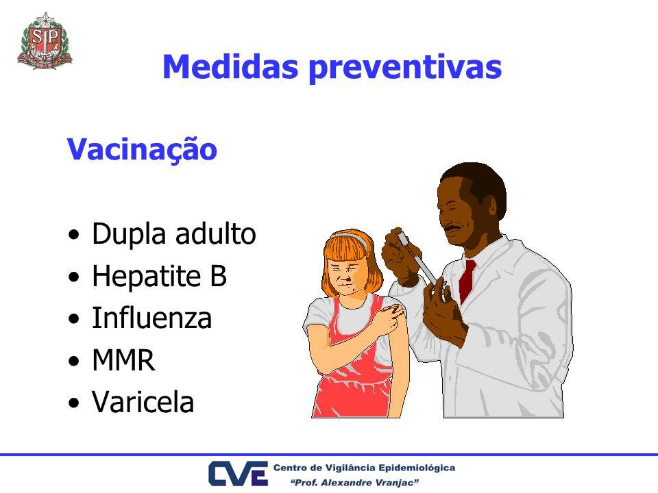 Medidas preventivas Vacinação Dupla adulto Hepatite B Influenza MMR