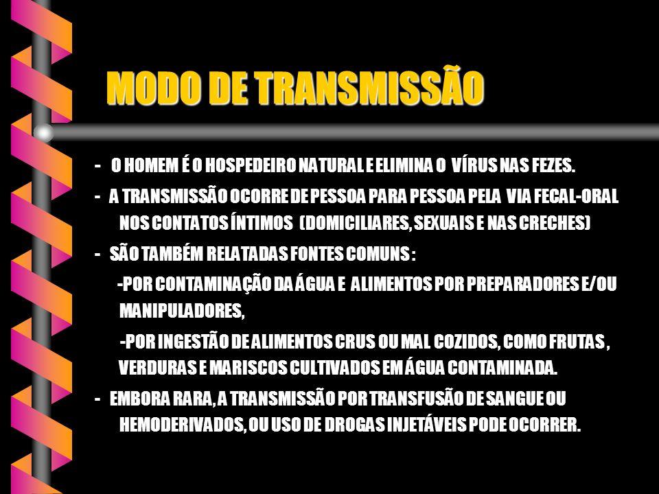 MODO DE TRANSMISSÃO - O HOMEM É O HOSPEDEIRO NATURAL E ELIMINA O VÍRUS NAS FEZES.