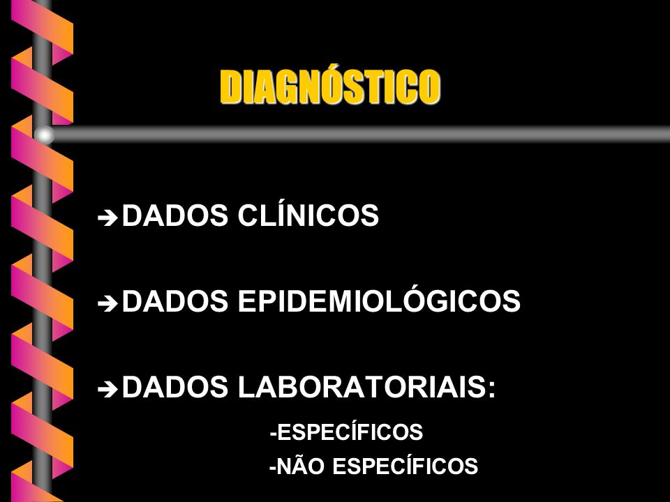 DIAGNÓSTICO DADOS CLÍNICOS DADOS EPIDEMIOLÓGICOS DADOS LABORATORIAIS: