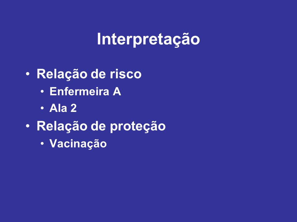 Interpretação Relação de risco Relação de proteção Enfermeira A Ala 2