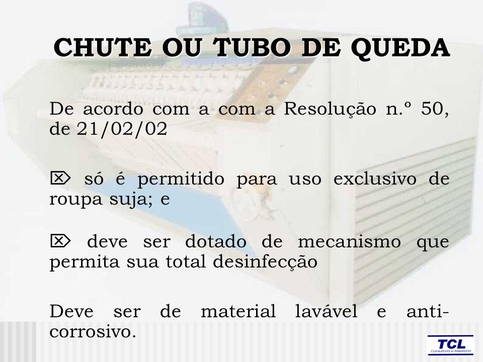 CHUTE OU TUBO DE QUEDA De acordo com a com a Resolução n.º 50, de 21/02/02.  só é permitido para uso exclusivo de roupa suja; e.