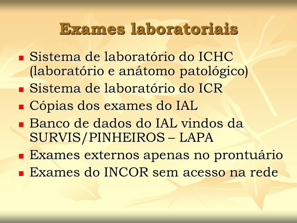 Exames laboratoriais Sistema de laboratório do ICHC (laboratório e anátomo patológico) Sistema de laboratório do ICR.