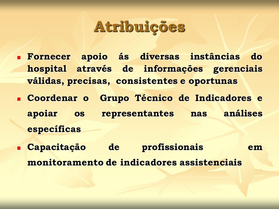 Atribuições Fornecer apoio ás diversas instâncias do hospital através de informações gerenciais válidas, precisas, consistentes e oportunas.