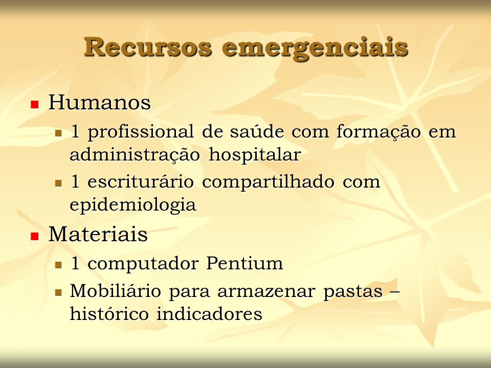 Recursos emergenciais