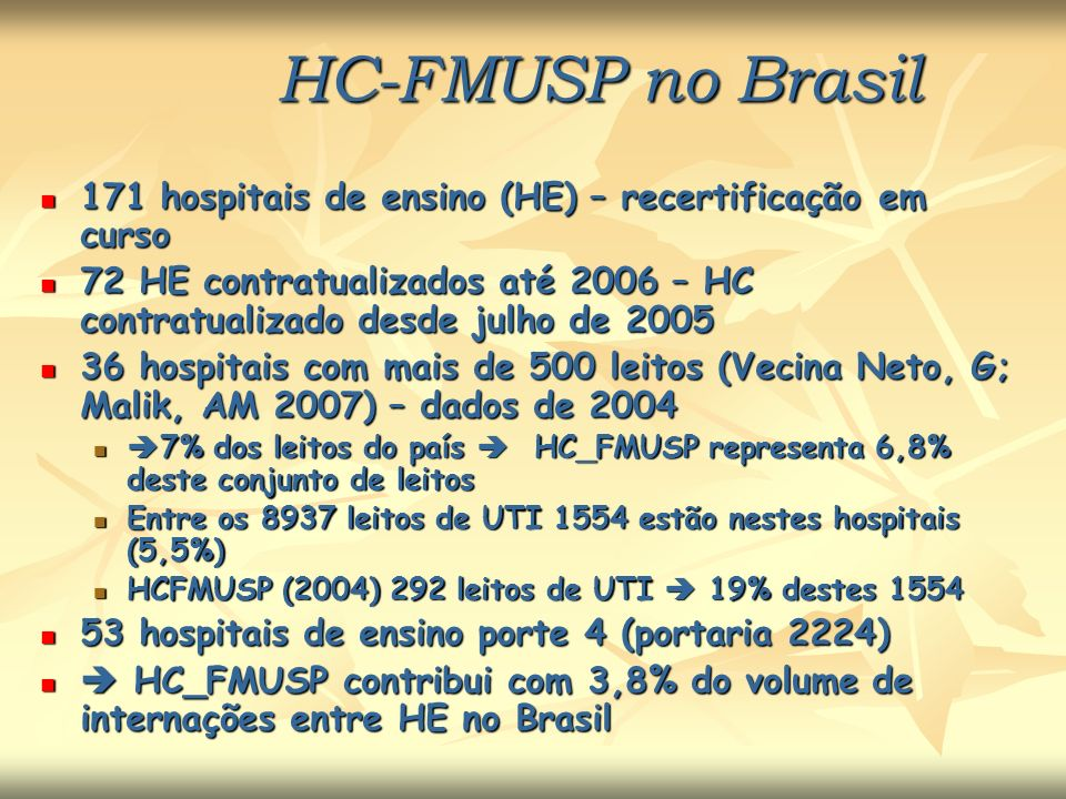 HC-FMUSP no Brasil 171 hospitais de ensino (HE) – recertificação em curso. 72 HE contratualizados até 2006 – HC contratualizado desde julho de 2005.
