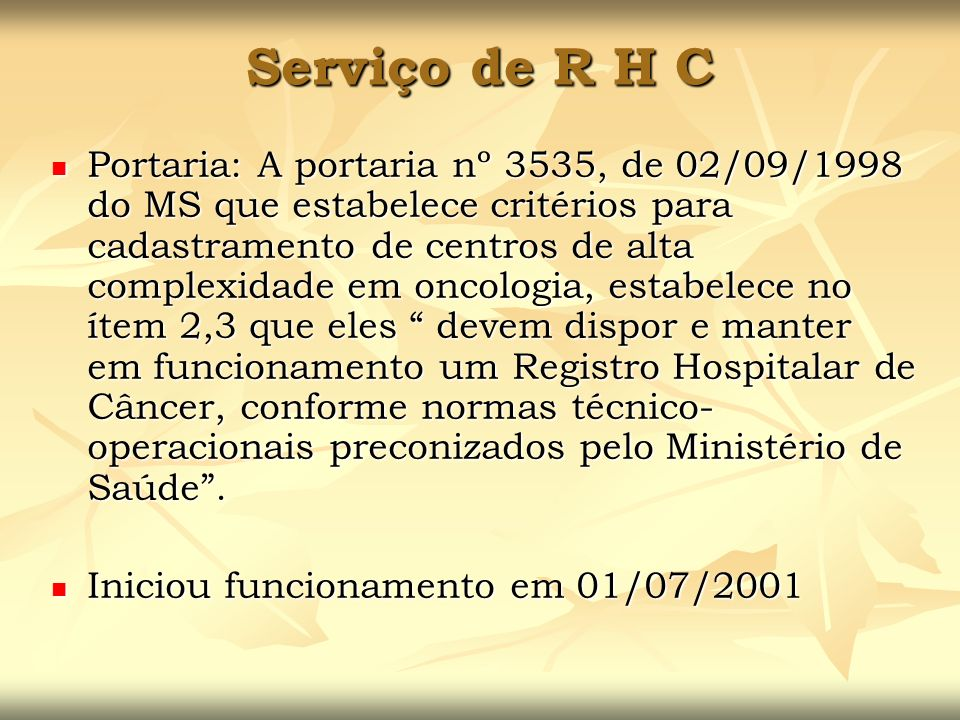 Serviço de R H C