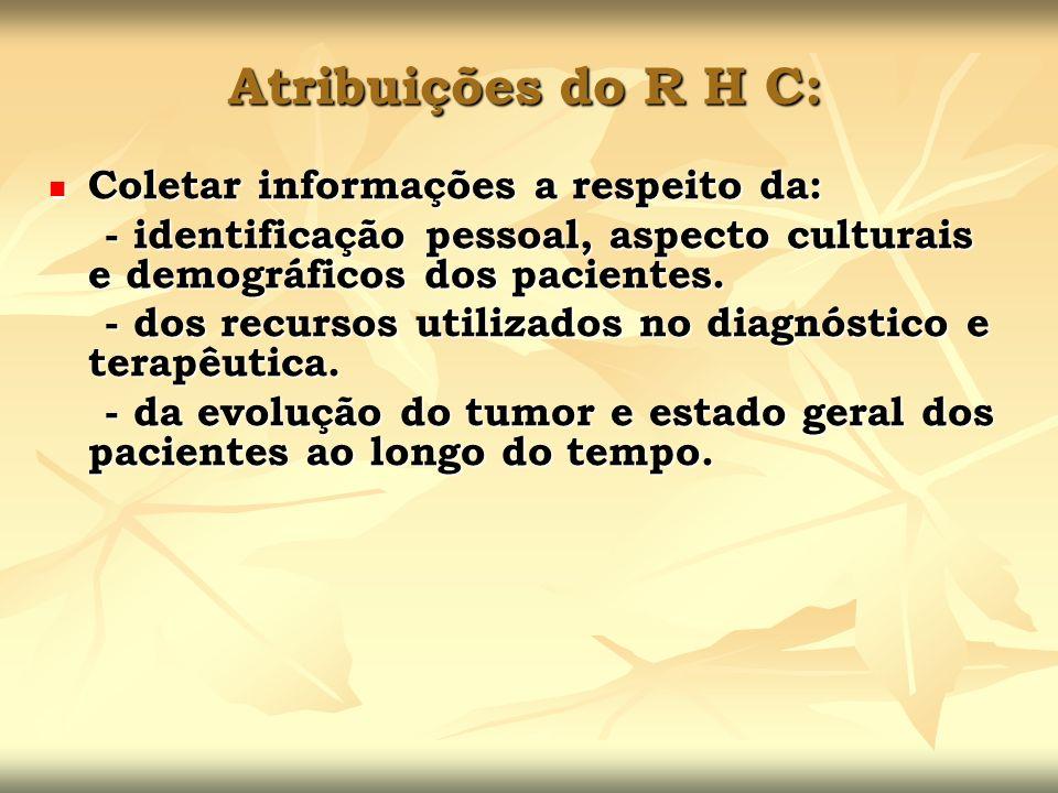 Atribuições do R H C: Coletar informações a respeito da: