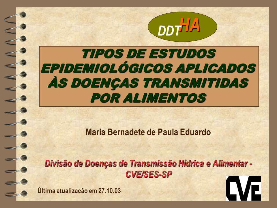 HADDT. TIPOS DE ESTUDOS EPIDEMIOLÓGICOS APLICADOS ÀS DOENÇAS TRANSMITIDAS POR ALIMENTOS. Maria Bernadete de Paula Eduardo.