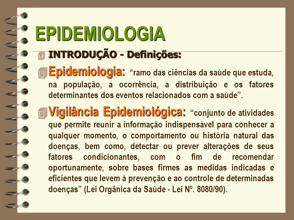 EPIDEMIOLOGIAINTRODUÇÃO - Definições: