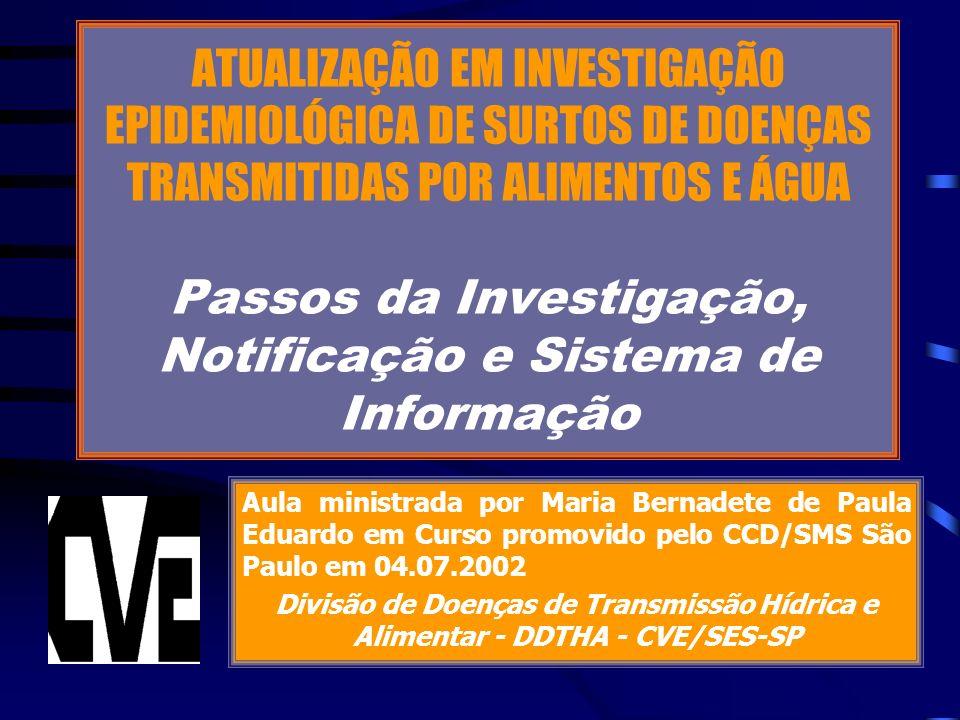 ATUALIZAÇÃO EM INVESTIGAÇÃO EPIDEMIOLÓGICA DE SURTOS DE DOENÇAS TRANSMITIDAS POR ALIMENTOS E ÁGUA Passos da Investigação, Notificação e Sistema de Informação