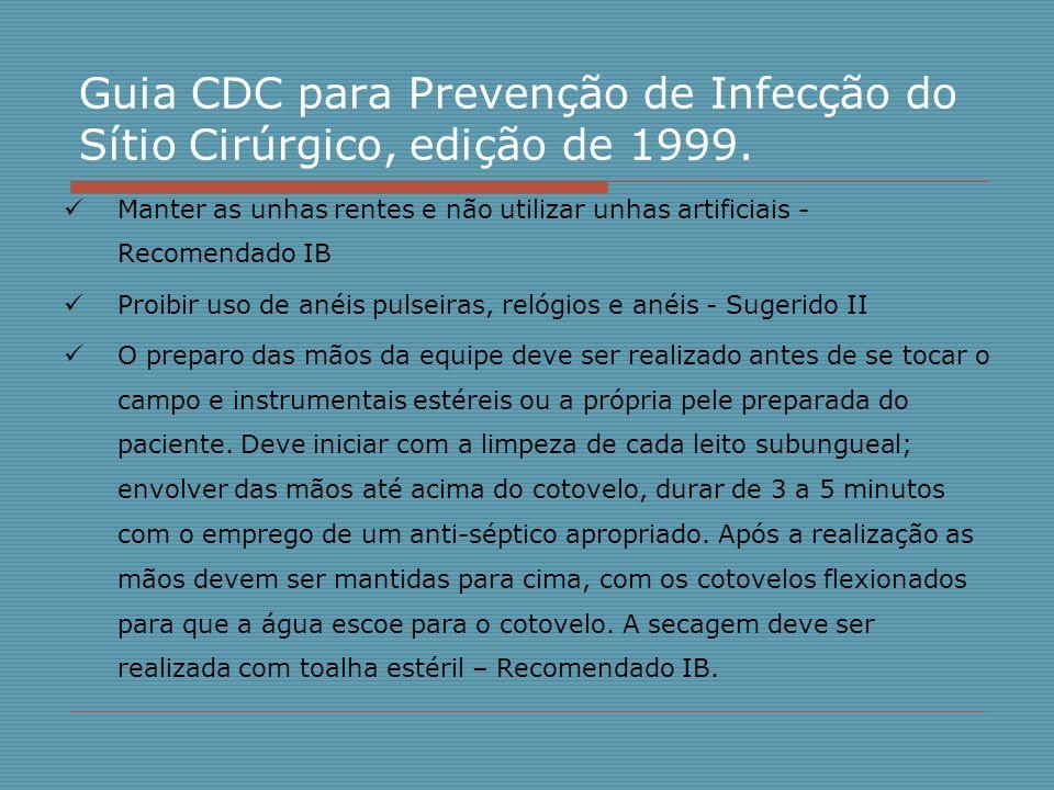 Guia CDC para Prevenção de Infecção do Sítio Cirúrgico, edição de 1999.