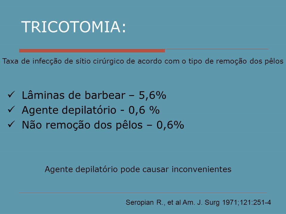 TRICOTOMIA: Lâminas de barbear – 5,6% Agente depilatório - 0,6 %