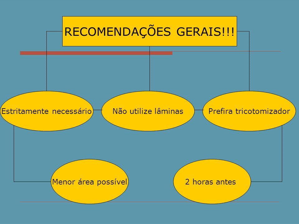 RECOMENDAÇÕES GERAIS!!! Estritamente necessário Não utilize lâminas