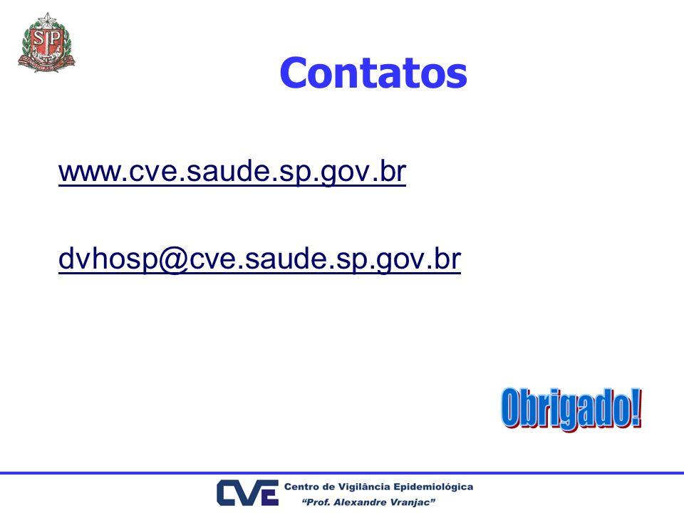 Contatos www.cve.saude.sp.gov.br dvhosp@cve.saude.sp.gov.br Obrigado!