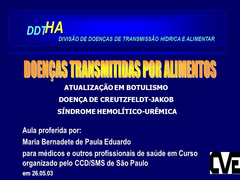 HA DDT DOENÇAS TRANSMITIDAS POR ALIMENTOS Aula proferida por:
