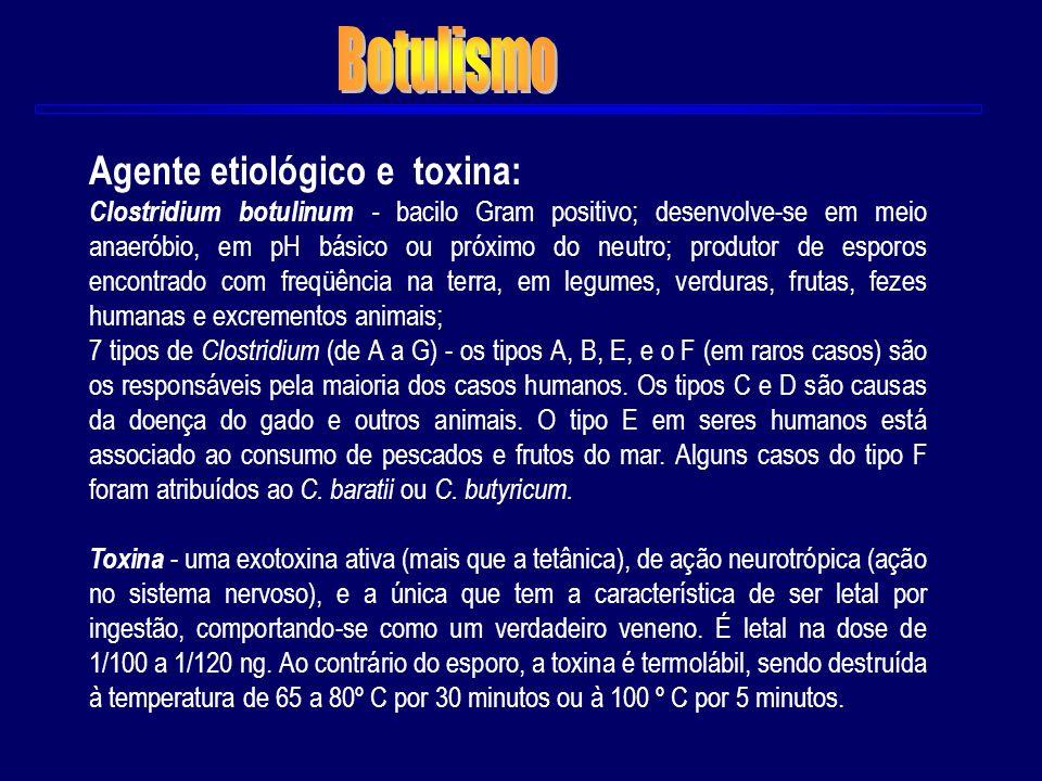 Botulismo Agente etiológico e toxina:
