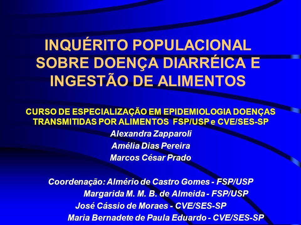 INQUÉRITO POPULACIONAL SOBRE DOENÇA DIARRÉICA E INGESTÃO DE ALIMENTOS