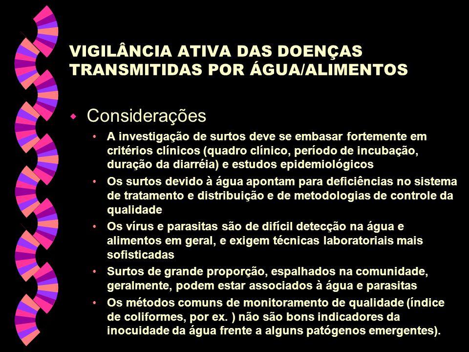 VIGILÂNCIA ATIVA DAS DOENÇAS TRANSMITIDAS POR ÁGUA/ALIMENTOS