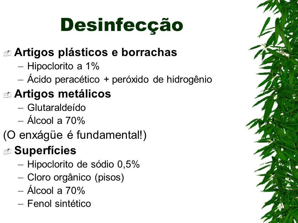 Desinfecção Artigos plásticos e borrachas Artigos metálicos