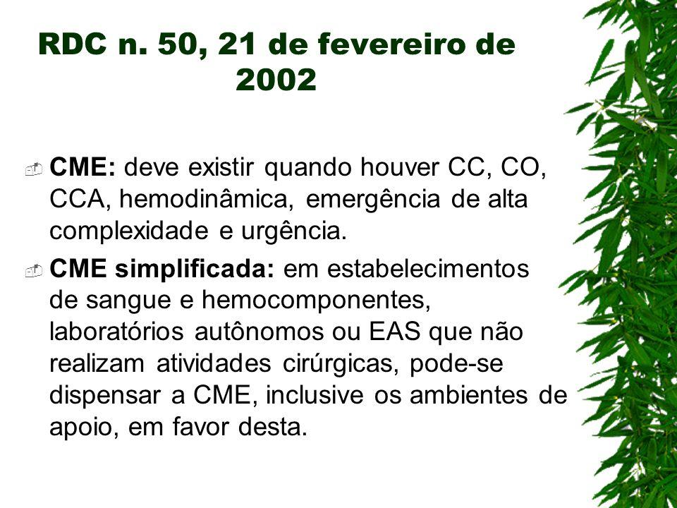 RDC n. 50, 21 de fevereiro de 2002 CME: deve existir quando houver CC, CO, CCA, hemodinâmica, emergência de alta complexidade e urgência.