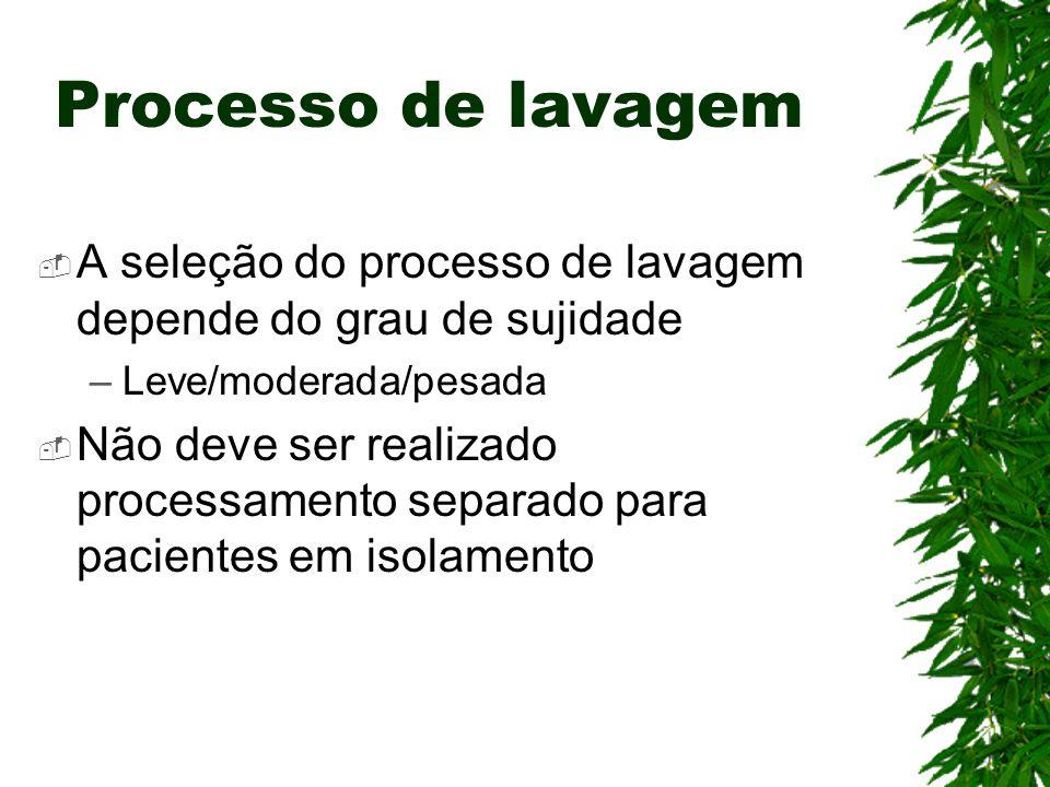 Processo de lavagem A seleção do processo de lavagem depende do grau de sujidade. Leve/moderada/pesada.