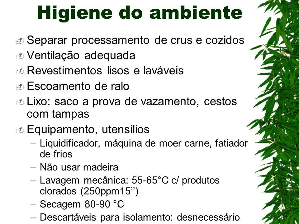 Higiene do ambiente Separar processamento de crus e cozidos