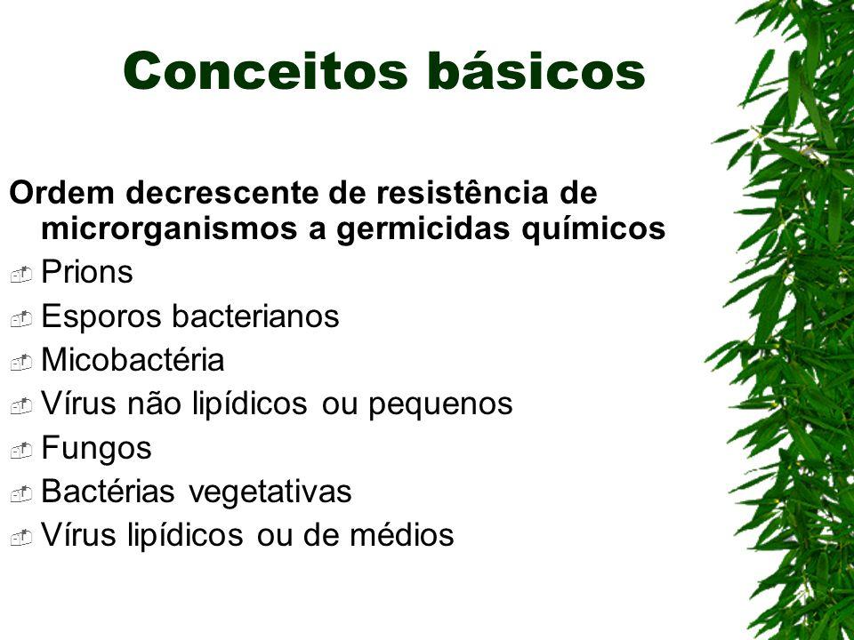 Conceitos básicos Ordem decrescente de resistência de microrganismos a germicidas químicos. Prions.