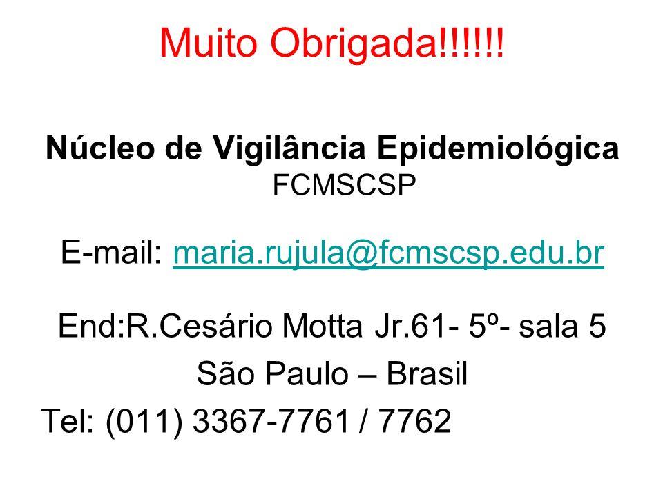 Muito Obrigada!!!!!! Núcleo de Vigilância Epidemiológica FCMSCSP