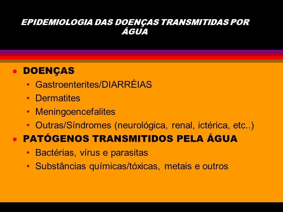 EPIDEMIOLOGIA DAS DOENÇAS TRANSMITIDAS POR ÁGUA