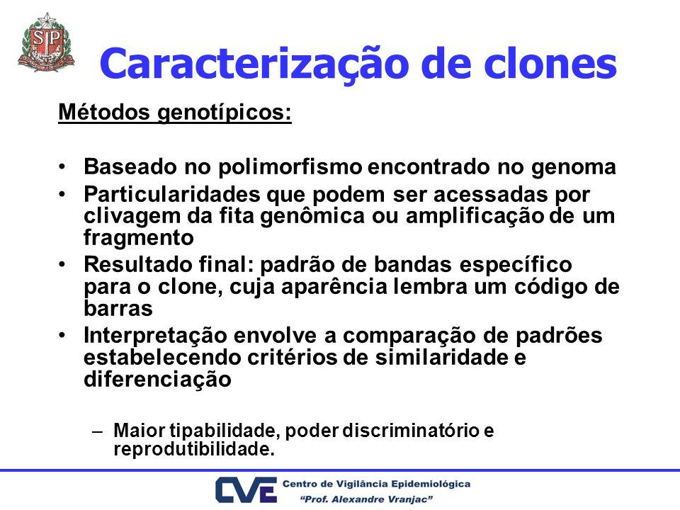 Caracterização de clones