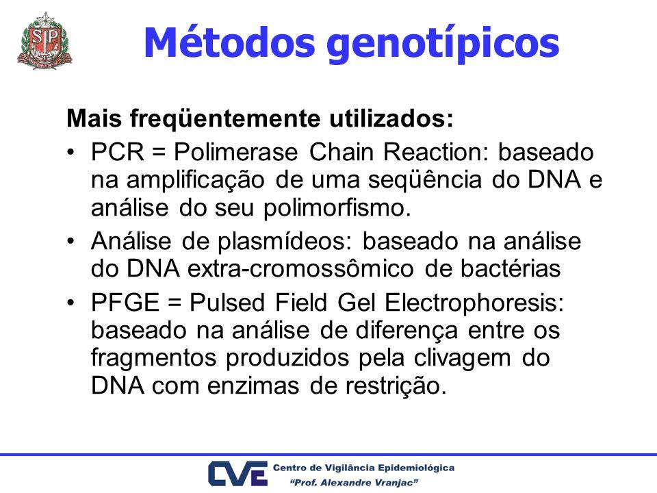 Métodos genotípicos Mais freqüentemente utilizados: