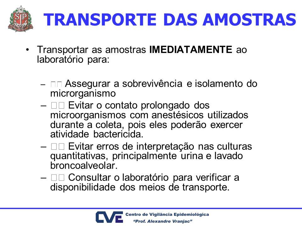 TRANSPORTE DAS AMOSTRAS