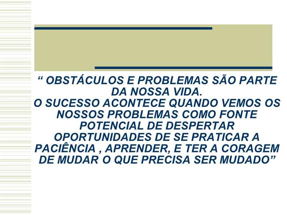 OBSTÁCULOS E PROBLEMAS SÃO PARTE DA NOSSA VIDA