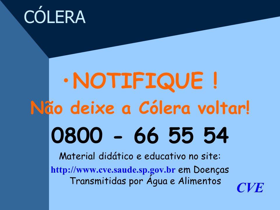 Não deixe a Cólera voltar!