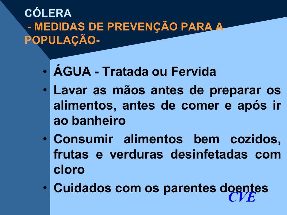CÓLERA - MEDIDAS DE PREVENÇÃO PARA A POPULAÇÃO-