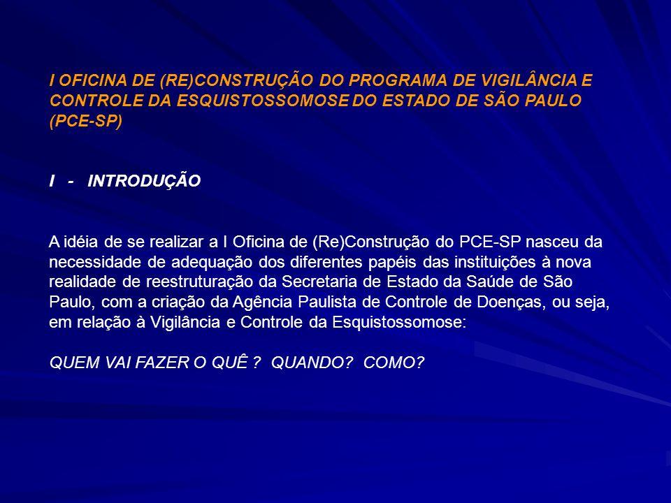 I OFICINA DE (RE)CONSTRUÇÃO DO PROGRAMA DE VIGILÂNCIA E CONTROLE DA ESQUISTOSSOMOSE DO ESTADO DE SÃO PAULO (PCE-SP)
