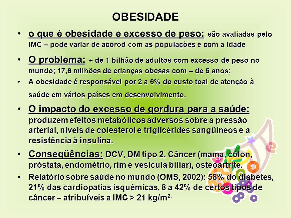 OBESIDADE o que é obesidade e excesso de peso: são avaliadas pelo IMC – pode variar de acorod com as populações e com a idade.