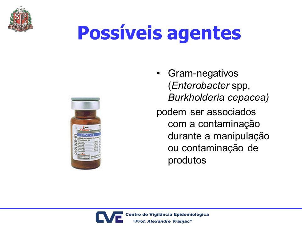 Possíveis agentes Gram-negativos (Enterobacter spp, Burkholderia cepacea)