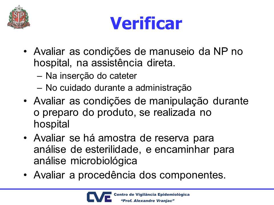 Verificar Avaliar as condições de manuseio da NP no hospital, na assistência direta. Na inserção do cateter.
