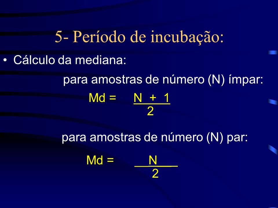 5- Período de incubação: