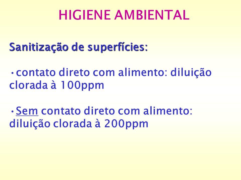 HIGIENE AMBIENTAL Sanitização de superfícies: