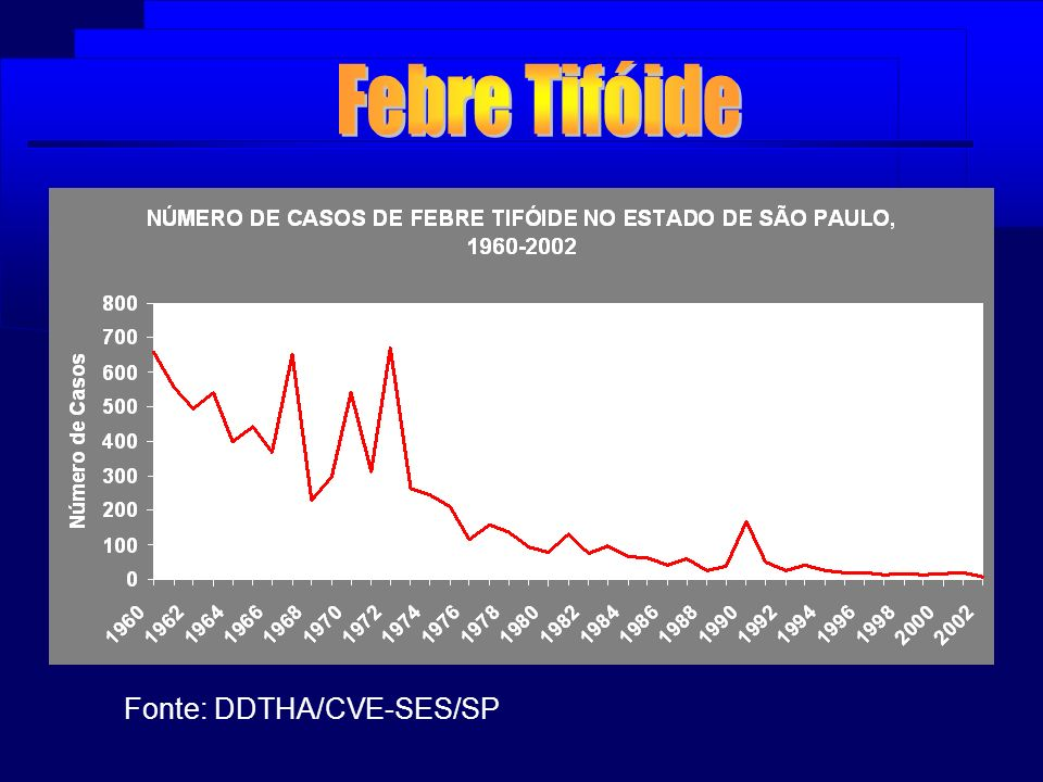 Febre Tifóide Fonte: DDTHA/CVE-SES/SP