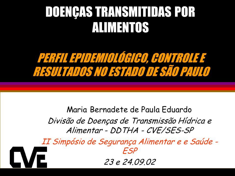 DOENÇAS TRANSMITIDAS POR ALIMENTOS PERFIL EPIDEMIOLÓGICO, CONTROLE E RESULTADOS NO ESTADO DE SÃO PAULO