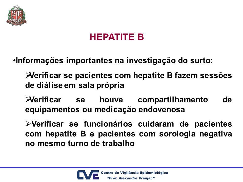 HEPATITE B Informações importantes na investigação do surto: