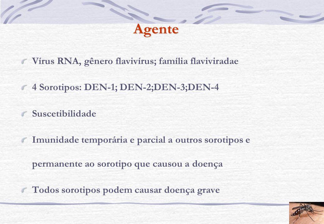 Agente Vírus RNA, gênero flavivírus; família flaviviradae